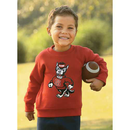 NC State Wolfpack Toddler Red Strutting Wolf Crew Neck Sweatshirt