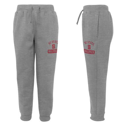 NC State Wolfpack Kid's Grey 90's Fashion Fleece Pants