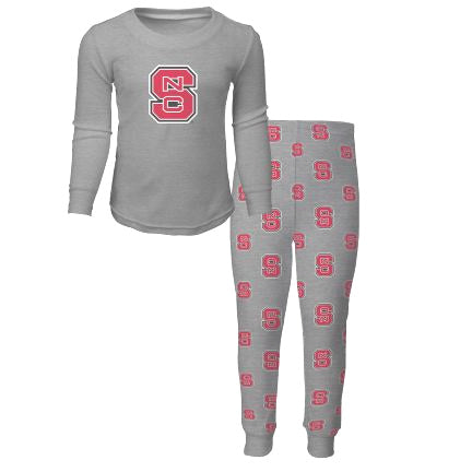 NC State Wolfpack Kid's Grey Block S Long Sleeve Shirt and Pant Sleep Set
