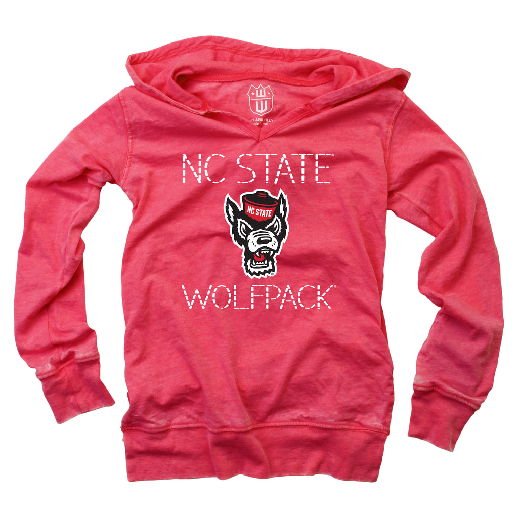 NC State Wolfpack Toddler Girl's Heather Red Wolfhead Burn Out Hoodie