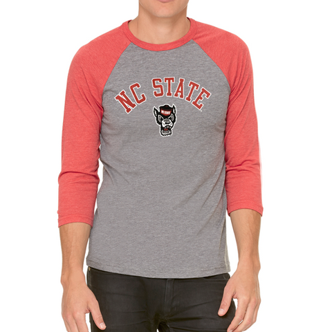 NC State Wolfpack Grey and Red Wolfhead 3/4 Sleeve T-Shirt