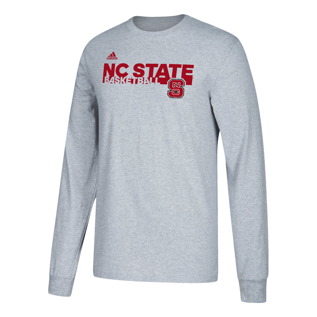 NC State Wolfpack Adidas Grey Basketball Long Sleeve T-Shirt