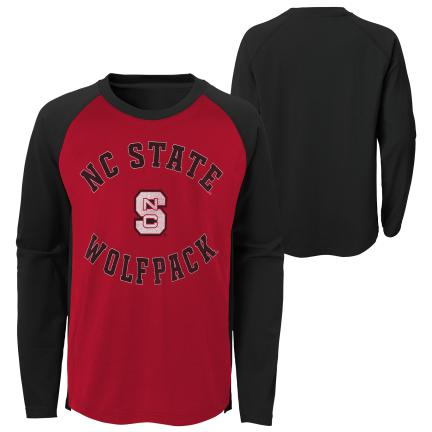 NC State Wolfpack Youth Red and Black Air Raid Long Sleeve T-Shirt