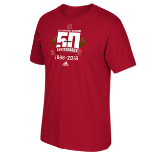 NC State Wolfpack Adidas Red Carter Finley 50th Anniversary T-Shirt