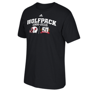 NC State Wolfpack Adidas Black Carter Finley Helmet 50th Anniversary T-Shirt