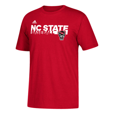 NC State Wolfpack Adidas Red Sideline Grind Baseball T-Shirt