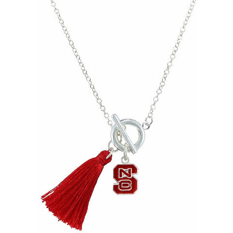 NC State Wolfpack Women's Red Block S Tassle Necklace