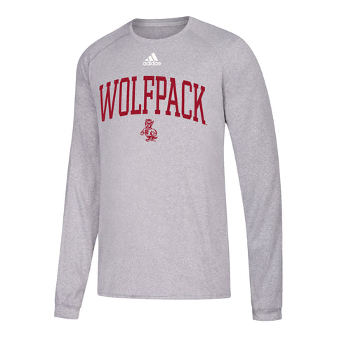 NC State Wolfpack Adidas Youth Grey Wolfpack Arch Strutting Wolf Climalite T-Shirt