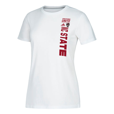 NC State Wolfpack Adidas Women's White 2019 NCAA Tournament On Court Creators United T-Shirt