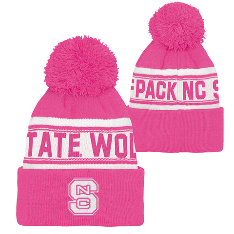 NC State Wolfpack Girls Pink Cuffed Knit Beanie w/Pom