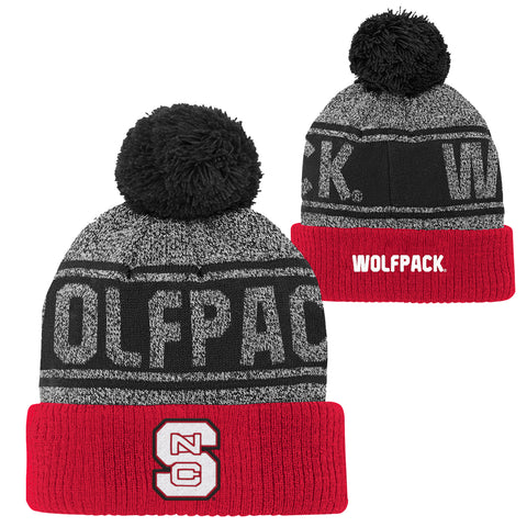NC State Wolfpack Youth Leagcy Charcoal Jacquard Cuffed Knit Beanie w/Pom