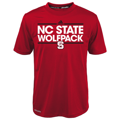 NC State Wolfpack Adidas Red Kids Climalite Dassler T-Shirt