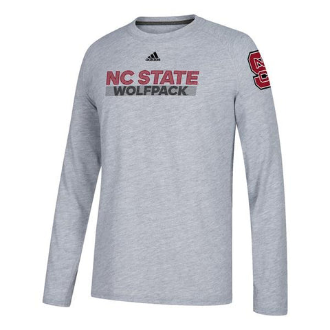 9065b52de NC State Wolfpack Adidas Youth Grey Sideline Climalite Long Sleeve T-Shirt