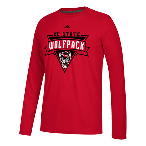 NC State Wolfpack Adidas Red Wolfhead Ultimate Long Sleeve T-Shirt