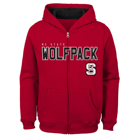 NC State Wolfpack Kid's Red Stated Full Zip Hooded Sweatshirt