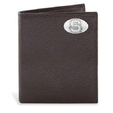 NC State Wolfpack Leather Pebble Brown Bifold Wallet