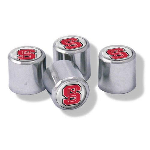 NC State Wolfpack Chrome Valve Stem Caps with Block S – Set of 4