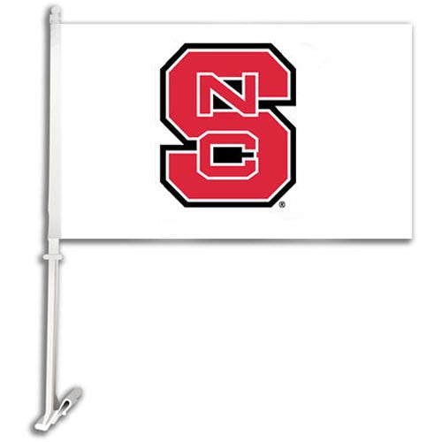 NC State Wolfpack White w/ Block S Car Flag