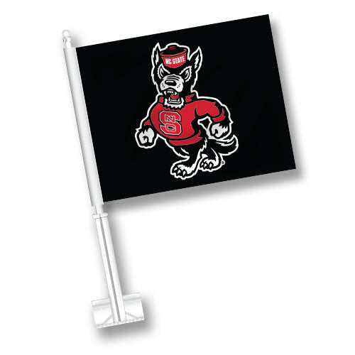 NC State Wolfpack Black Strutting Wolf Car Flag