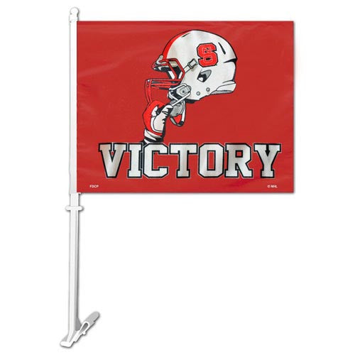 NC State Wolfpack Red Victory Football Helmet Car Flag