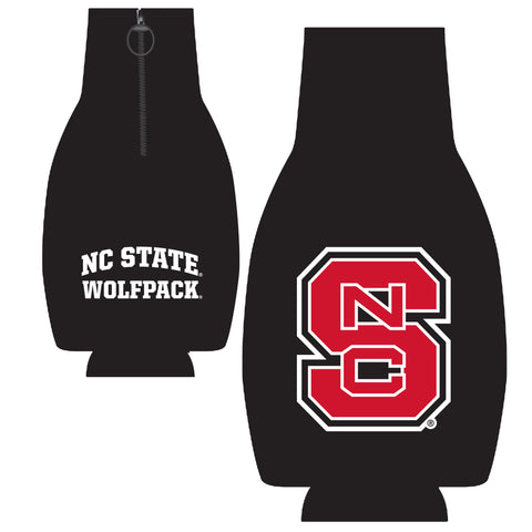 NC State Wolfpack Black Zip Up Bottle Coozie