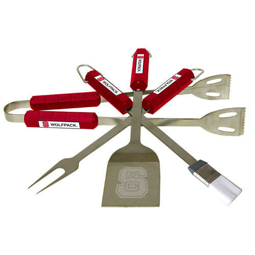 NC State Wolfpack 4-Piece Stainless Steel BBQ Set