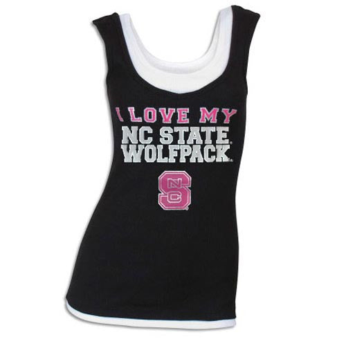 NC State Wolfpack Women's Black Charmed Hearts Double Layer Tank Top