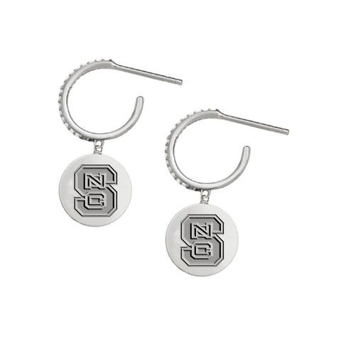 NC State Wolfpack Silver Block S Kayla Earrings