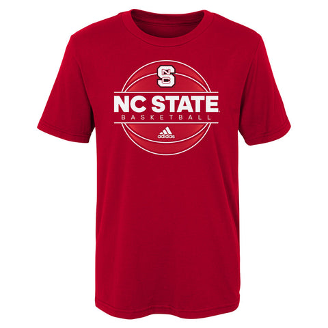 NC State Wolfpack Adidas Kid's Red On Court Basketball T-Shirt