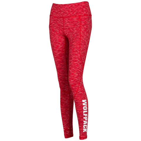 NC State Wolfpack Women's Heather Red Intent Leggings w/Pocket