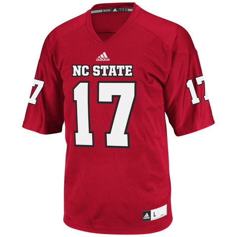 NC State Wolfpack Adidas Youth Red #17 Football Sideline Replica Jersey