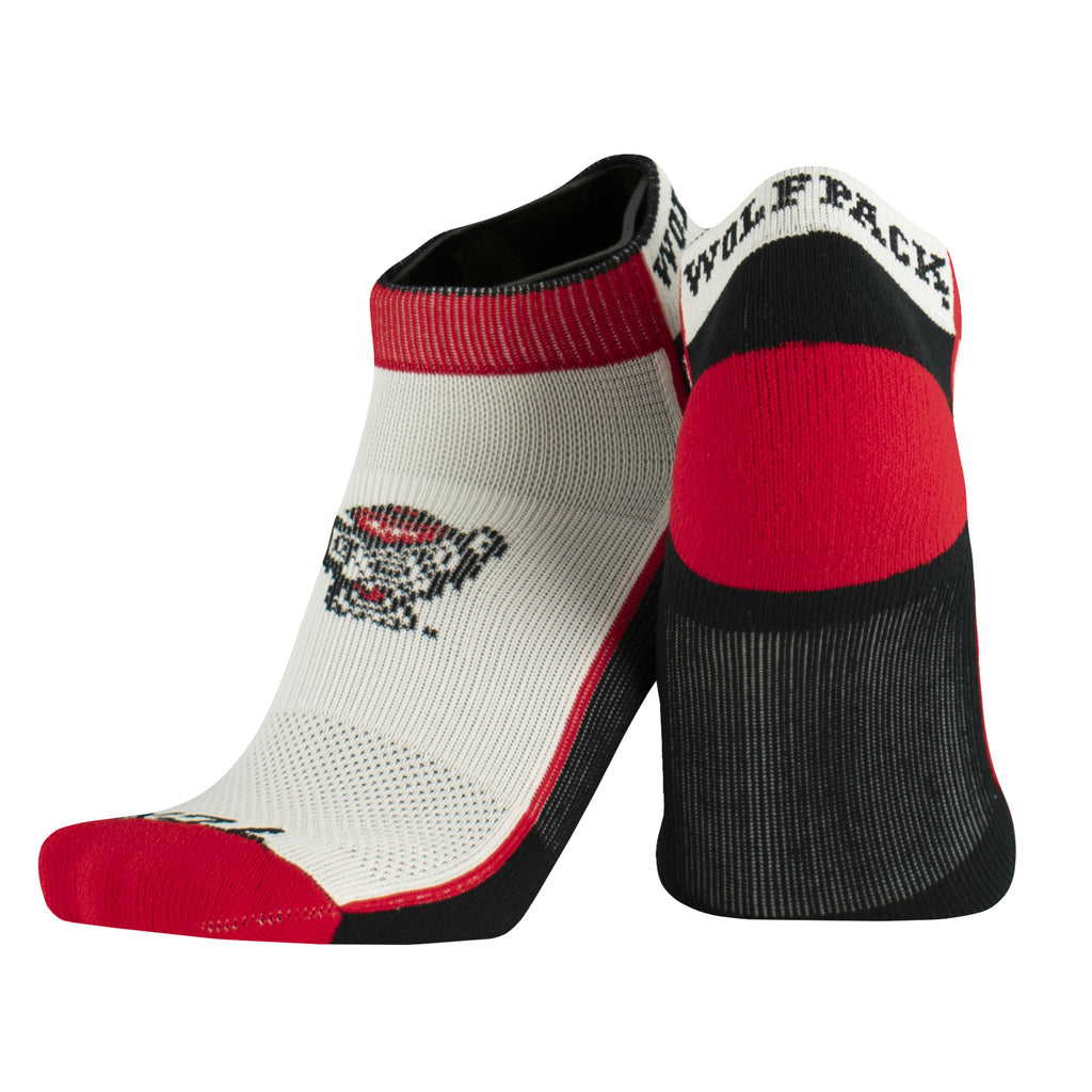 NC State Wolfpack Low Cut Stripe Wolfhead Socks