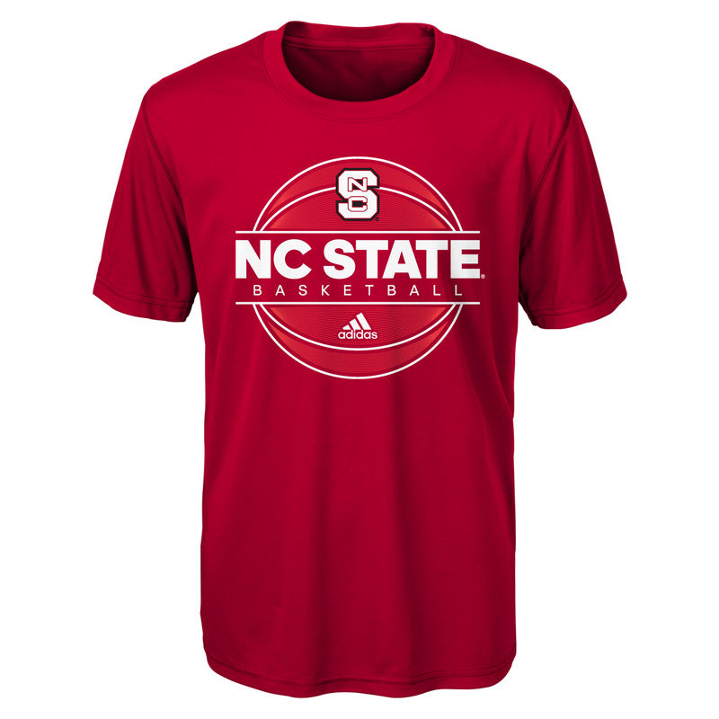 NC State Wolfpack Adidas Youth Red On Court Basketball Climalite T-Shirt
