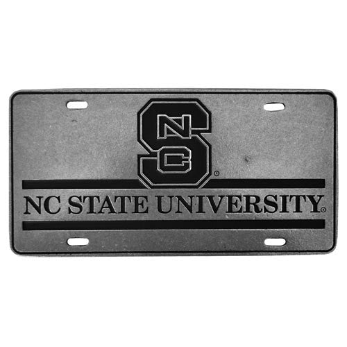 NC State Wolfpack University Block S Pewter License Plate