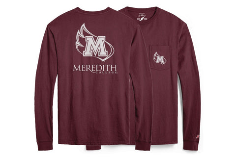 Meredith College Maroon Pocket Long Sleeve T-Shirt