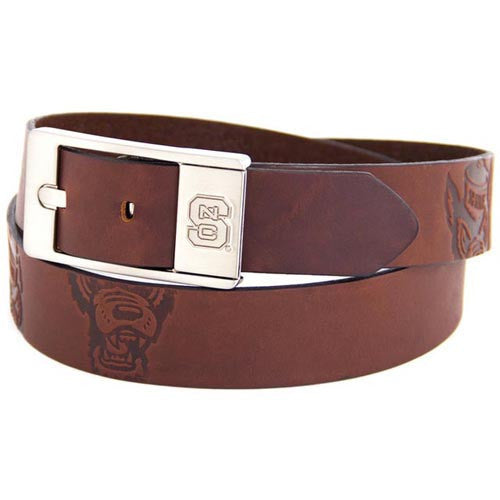 NC State Wolfpack Brown Brandish Leather Belt w/ Silver Finished Buckle