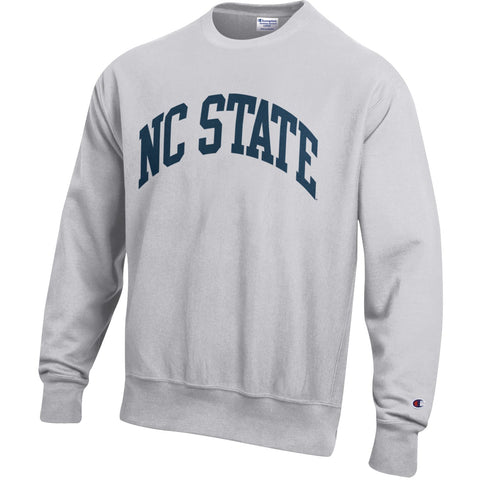 NC State Wolfpack Champion Silver Grey Reverse Weave Navy NC State Crewneck Sweatshirt