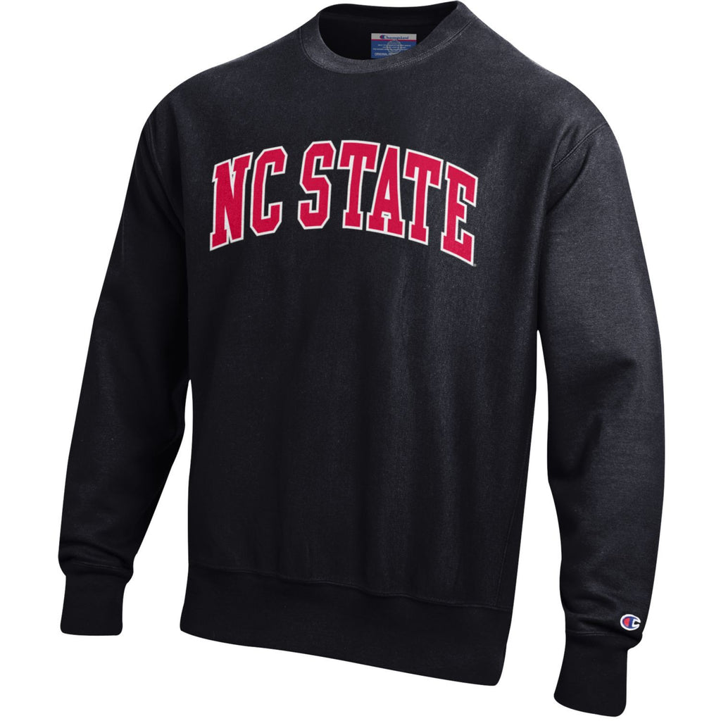 100% Cotton Reverse Weave Technology So No Vertical Shrinkage Screen Printed Arch NC STATE on Chest Officially Licensed