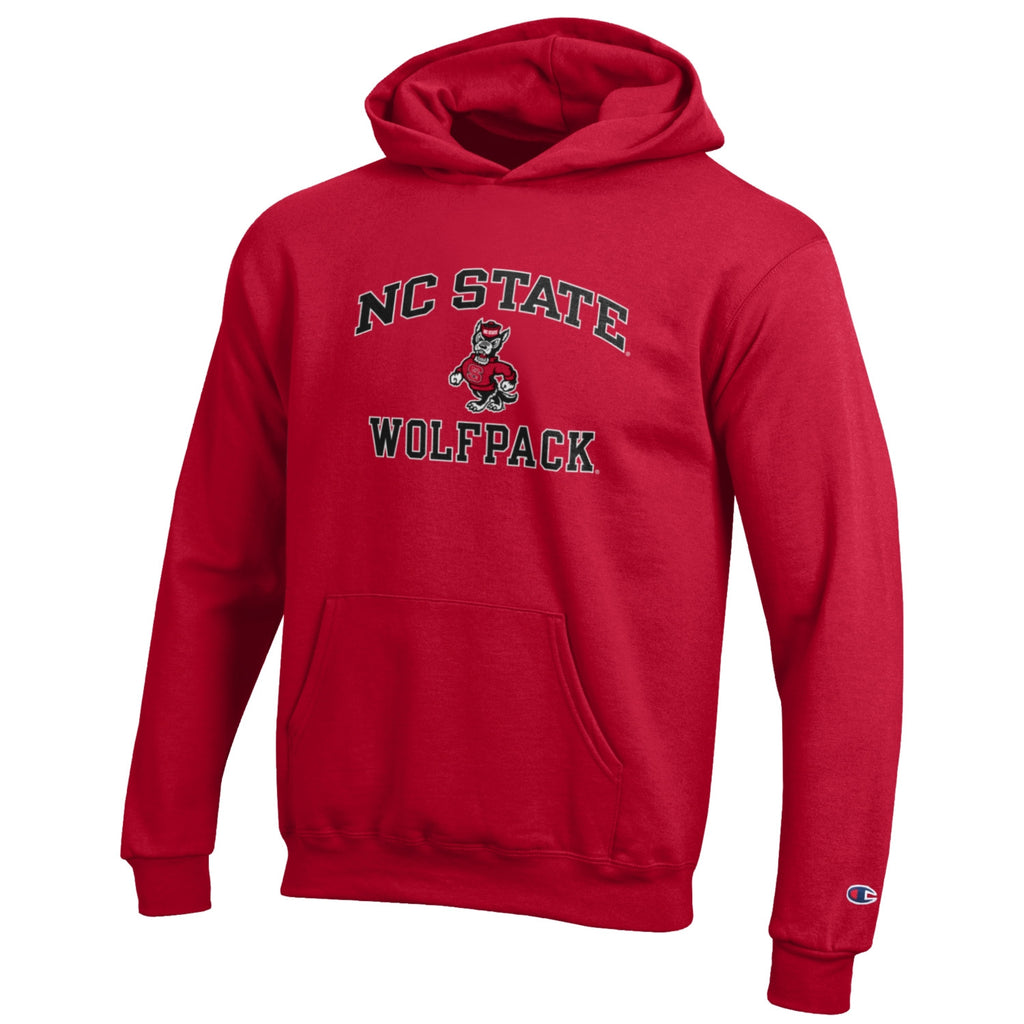 NC State Wolfpack Champion Youth Red Pullover Hooded Sweatshirt