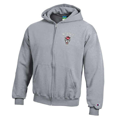 North Carolina State Wolfpack Champion Youth Grey Full Zip Hooded Jacket