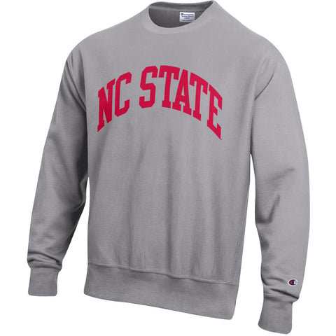 NC State Wolfpack Champion Oxford Grey Red NC State Reverse Weave Crewneck Sweatshirt