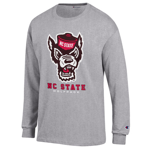 NC State Wolfpack Champion Grey Wolfhead Long Sleeve T-Shirt