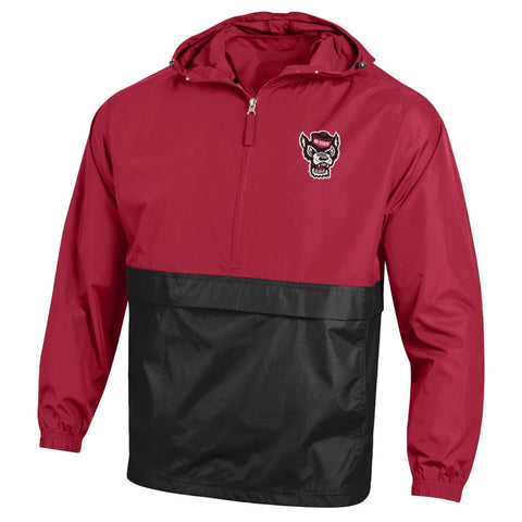 NC State Wolfpack Champion Red and Black Color Block Wolfhead Pack N Go Jacket