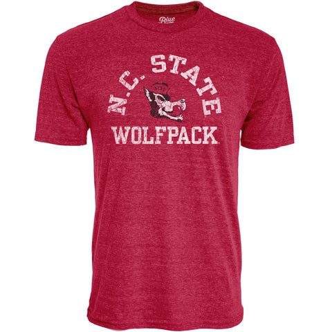 NC State Wolfpack Heather Red Arched NC State Over Slobbering Wolf T-Shirt
