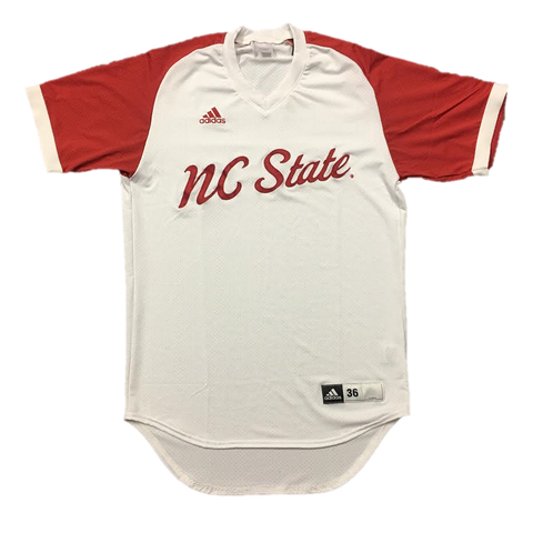 NC State Wolfpack Adidas White Script Authentic Baseball Jersey