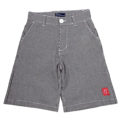NC State Wolfpack Boy's Black Gingham Shorts