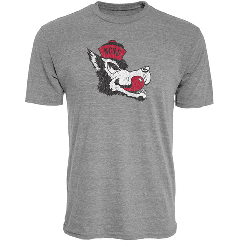 NC State Wolfpack Heather Grey Slobbering Wolf Tri-Blend T-Shirt