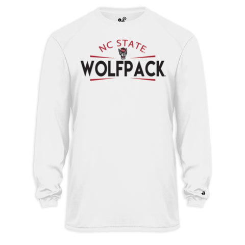 NC State Wolfpack White Wolfhead Performance Long Sleeve T-Shirt