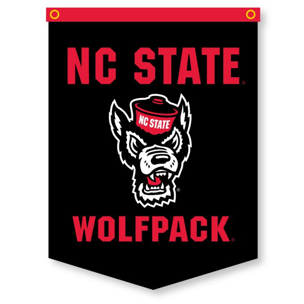 NC State Wolfpack Black 18x24 Wolfhead Banner