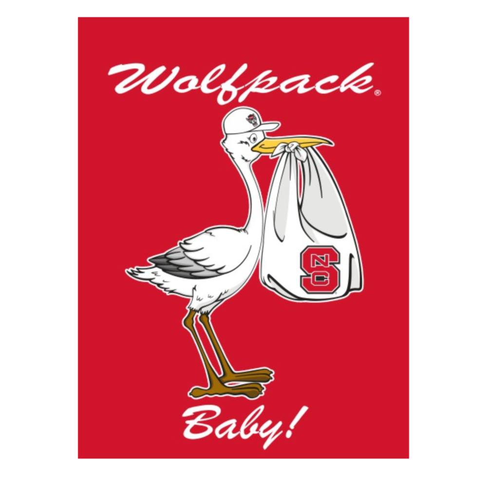 NC State Wolfpack Red 30x40 New Baby Stork Banner